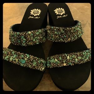 Yellowbox Sandals - Turquoise, beaded double strap